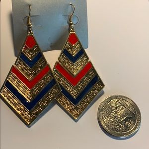 Jewelry - NEW Blue and red gold dangle earrings.